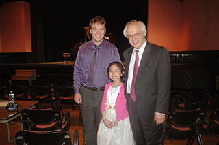 Photo Gallery of YM Piano Studio in East Windsor. JENNIFER LIU with her piano teacher YERVGENY MOROZOV and piano jury member SERGEI POLUSMIAK.